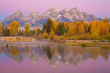 Reflection Of Grand Teton Mountains And Trees In Lake