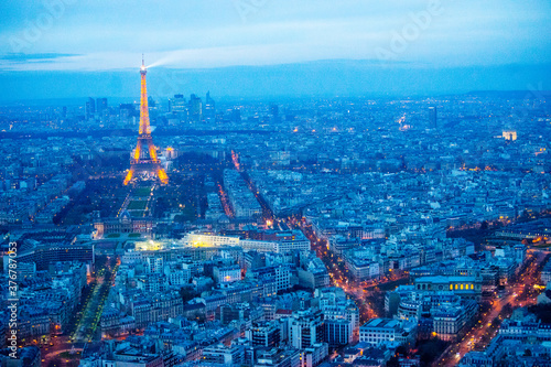 View of Paris cityscape with Eiffel Tower during sunset - 376787053