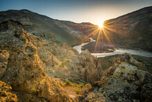 View Of Owyhee Reservoir And Mountains During Sunrise