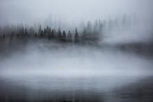 Fog Over Lake Aresjon In Sweden