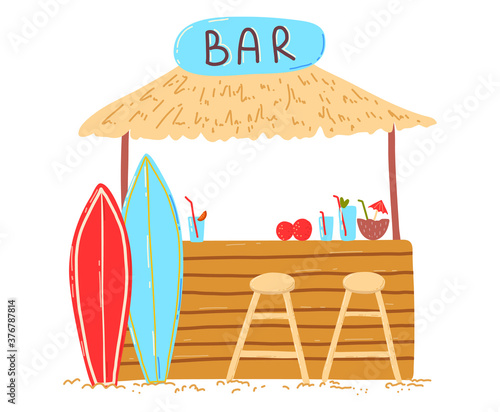 Photographie Wooden beach holiday home, lettering bar on bungalow, cocktails and refreshing drinks, design cartoon style vector illustration, isolated on white