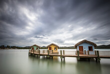 View Of Cabins On Wooden Pier ...