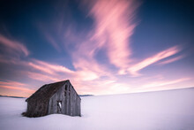 View Of Barn On Snowy Landscap...