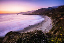 Scenic View Of Sand Dollar Beach During Sunset In Big Sur, California