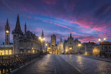View Of Ghent City During Sunr...
