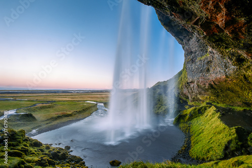 Scenic view of Seljalandsfoss Waterfall at Dawn - 376790408