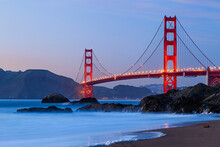 View Of Baker Beach And Golden Gate Bridge In San Francisco