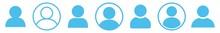User Icon Blue | Avatar Illustration | Client Symbol | Member Profile Logo | Login Head Sign | Isolated | Variations