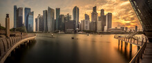 View Of Pano Kato Grill With Modern Skylines During Sunset In Singapore