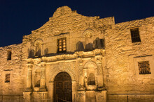 Exterior View Of The Alamo At Night