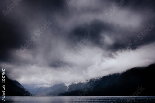 Scenic view of storm clouds over Lake Crescent - 376791687