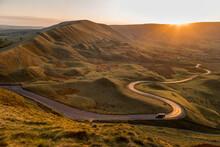 Scenic View Of Mam Tor In Peak...