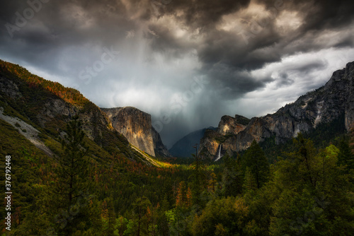 View of stormy clouds over Yosemite National Park - 376792448