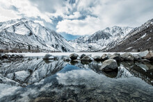 Scenic View Of Convict Lake And Mountains