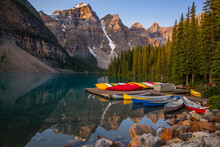 Canoes Moored At Moraine Lake ...