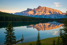 Scenic View Of Two Jack Lake W...