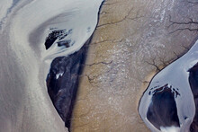 Aerial View Of Channels Along Cook Inlet During Low Tide