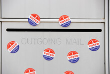 I Voted Today Stickers On An Outgoing Mail Box