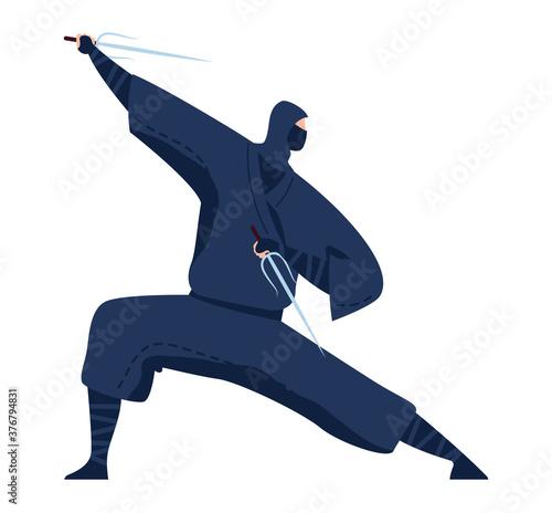 Fotografie, Obraz Martial art, japanese ninja, professional warrior in black kimono design cartoon style vector illustration, isolated on white