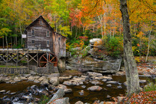 Scenic View Of Glade Creek Grist Mill During Autumn