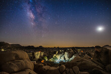 Scenic View Of Stars Over Rock...