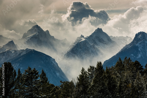View of snow storm in Grand Teton National Park - 376795834