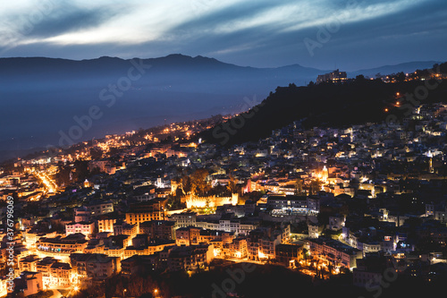 View of Chefchaouen city at dusk - 376796069