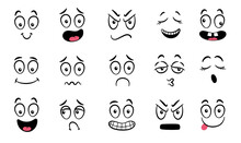 Cartoon Faces. Expressive Eyes And Mouth, Smiling, Crying And Surprised Character Face Expressions. Caricature Comic Emotions Or Emoticon Doodle. Isolated Vector Illustration Icons Set.