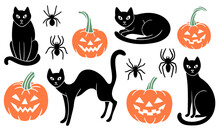 Set Of Halloween Clipart With Black Cats, Carved Pumpkins, And Spiders