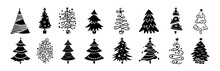 Christmas Tree Cartoon Black Glyph Set. Hand Drawing Monochrome Xmas Trees Collection. New Year Traditional Design Ornaments, Stars Or Garlands. Stylized Symbol For Holiday Flat Vector Illustration