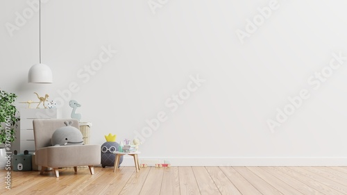 Mockup wall in the children's room on wall white colors background Fototapet