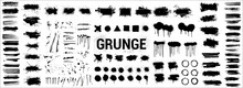 Detailed Ink Stencil. Grunge Big Collection - Overlay Texture, Brush Strokes, Brushes, Lines, Spray Graffiti And Other. Spots Blotches, Great Elaboration. Big Set Dirty Silhouettes. Vector Set Grunge