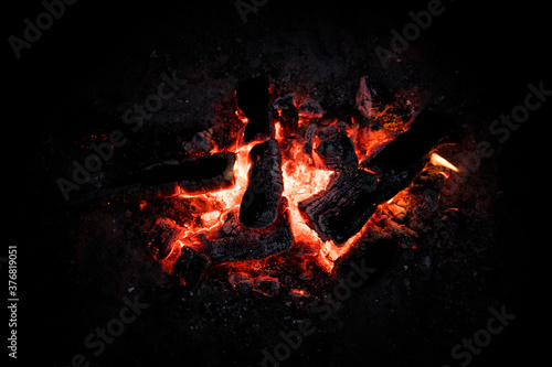 Red Hot Coals Glowing on a Dying Campfire Pit Canvas Print