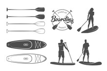 SUP Boarding Design Elements. Stand Up Paddling Stickers And Badges. Set Of Vector Emblems With SUP Boards, Boarder Silhouettes And Equipment