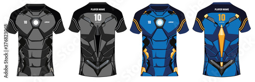 Fotografia Sports 3D t-shirt jersey design template, mock up uniform kit with front and bac