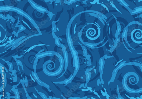 Valokuva Stock Seamless vector pattern of blue torn lines and spirals on a nautical background