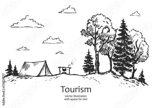 Obraz Vector vector illustration of nature. tourism. forest, tent in nature. landscape with forest. Illustration of tourism and recreation in the wild. hand drawn sketch - fototapety do salonu