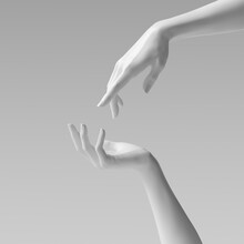 Abstract Beautiful Woman's Hand Sculpture Isolated On Yellow Background. Palm Up Showing And Presenting Female Art Creative Concept Banner, Mannequin Arm 3d Rendering