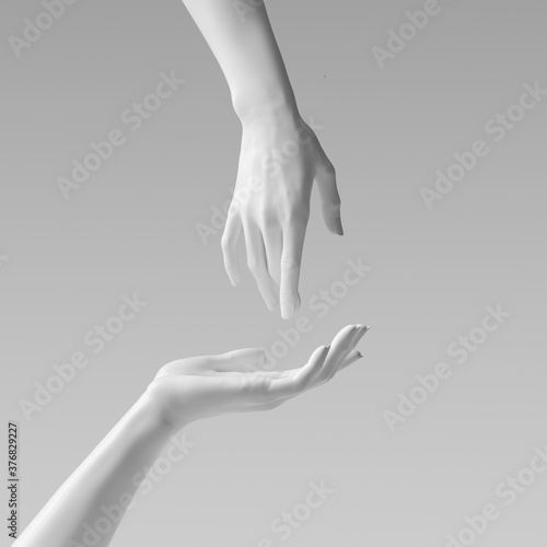 Tela White beautiful woman's hand sculpture isolated on yellow background