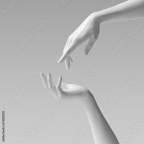 Fototapety, obrazy: Abstract beautiful woman's hand sculpture isolated on yellow background. Palm up showing and presenting female art creative concept banner, mannequin arm 3d rendering
