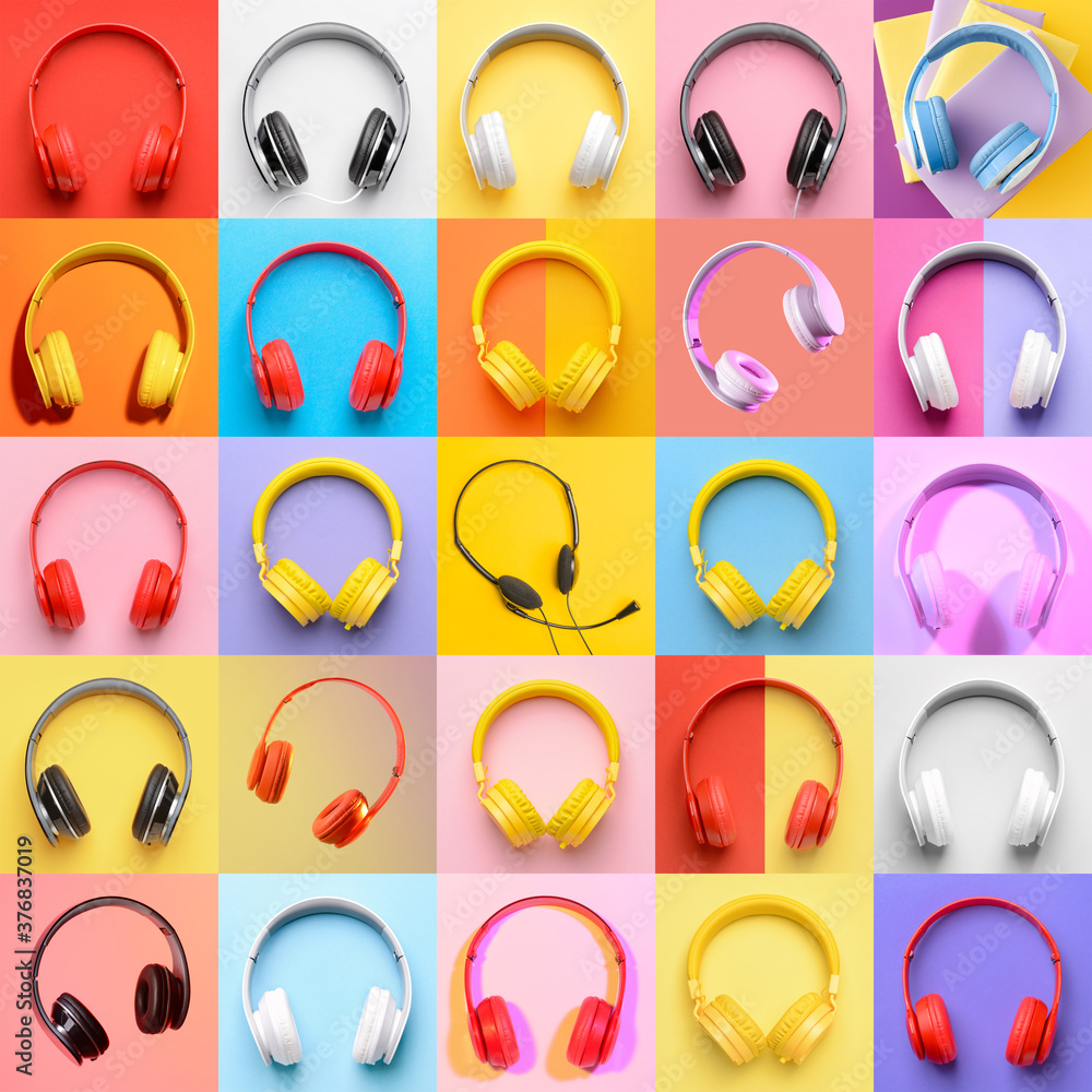 Fototapeta Many different headphones on colorful background