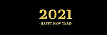 Long Black Banner Ornaments 2021 Happy New Year