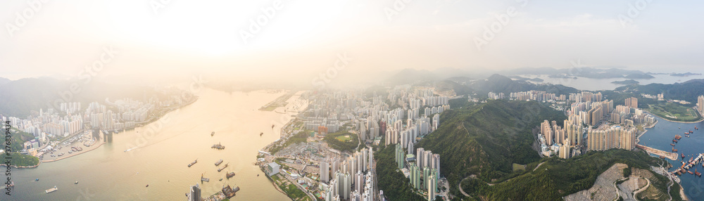 Fototapeta Epic Aerial view of public graveyard area in Junk Bay and Yau Tong East of Hong Kong