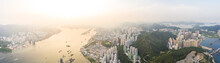 Epic Aerial View Of Public Graveyard Area In Junk Bay And Yau Tong East Of Hong Kong
