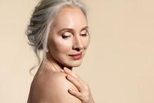 Senior Lady With Perfect Skin Closeup Beauty Portrait.
