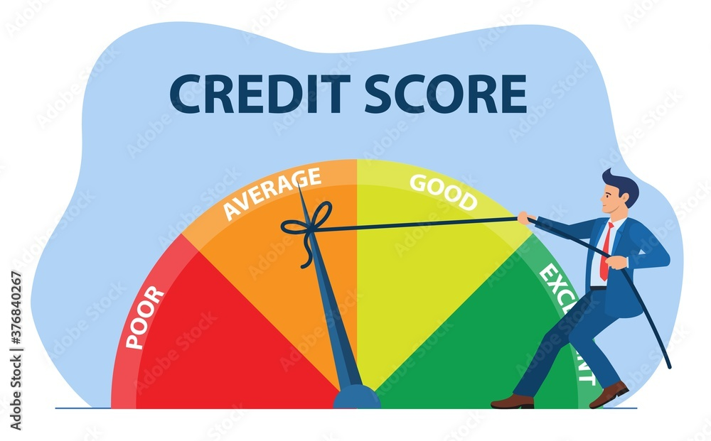 Fototapeta Credit score concept. businessman pulling scale changing credit information from poor to good, excellent. Payment history data meter. Vector illustration in flat style.