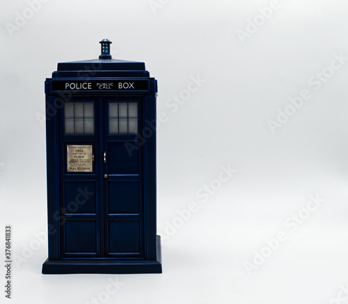 Obraz na plátně Police call box with board to write. Tardis from Doctor Who.