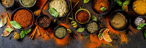Set of Spices and herbs for cooking Fotobehang