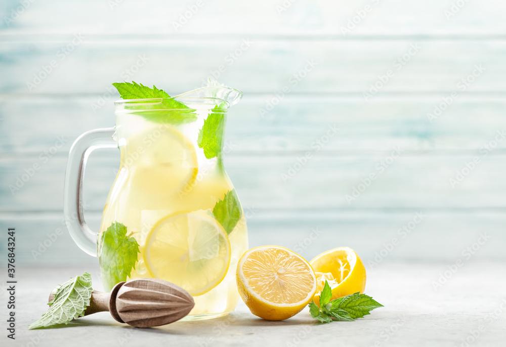 Fototapeta Lemon and mint homemade lemonade