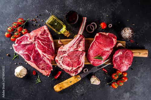 Fototapeta Set of meat steaks obraz na płótnie